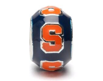 Navy and Orange Syracuse Round Bead Charm Jewelry - Fits Pandora