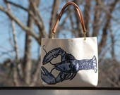 Lobster Canvas Tote with Leather or Rope Handles FREE SHIPPING