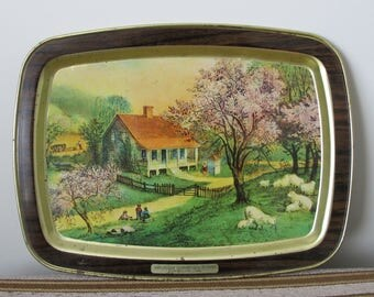 American Homestead Spring Vintage Currier & Ives Commemorative Tray