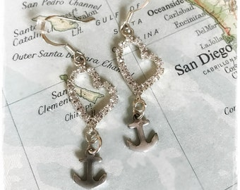 US Navy anchor and rhinestone heart earrings by Son and Sea - FREE US shipping
