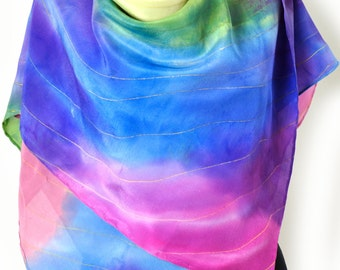 Abstract Hand Painted Silk 100% Scarf/Painting Luxury Shawl/Scuare scarf painting on hand/Profetionale dyes/Woman beautiful accessory/S0221