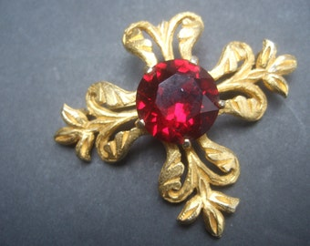Elegant Gilt Metal Ruby Crystal Brooch by Vans