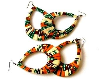 African Kente Wrapped Oversized Teardrop Hoop Earrings