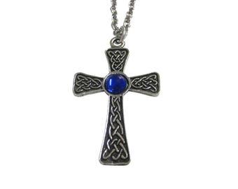 Large Celtic Cross with Blue Center Pendant Necklace
