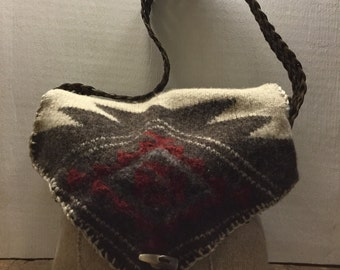Repurposed Felted Sweater Boho Bag Purse