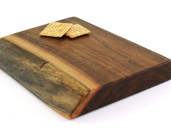 "Thick Natural Edge Chopping Board - Black Walnut - Ready to Ship - 10""x8""x1-1/4"""