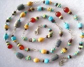 """SILPADA 35.5"""" Mixed Beads & Sterling Silver Vintage Necklace.  Stone + Wire Links with 1-4 Beads Included. Connected By 0-3 Links Between."""