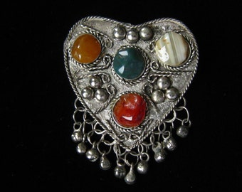 "Silver Heart Brooch with Semi Precious Stone Cabochons and Tiny Bell Dangles. Middle Eastern Vintage Jewelry.  2-3/4"" H x 2-1/8"" W."