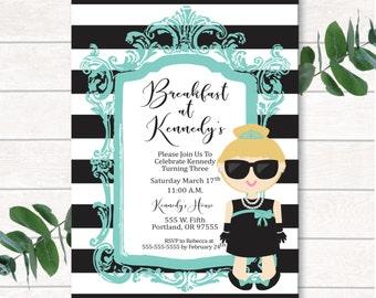 Digital Birthday Invitation, Breakfast at Tiffany's, Breakfast at Tiffany's Invitation, Girl Invitation, Glam Invitation, Turquoise, Glam