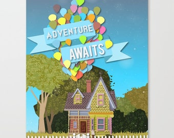 adventure awaits with balloons .. pixar disney up house.... digital file download  16x20