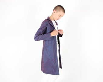 90s Holographic Purple Duo Tone Metallic Futuristic Slouchy Trench Coat Anorak Long Jacket