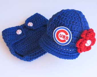 Newborn Baby Chicago Cubs Outfit Set, Hat, Cap, Diaper Cover, Knitted Crochet, Baby Gift, Photo Prop, Baseball, MLB