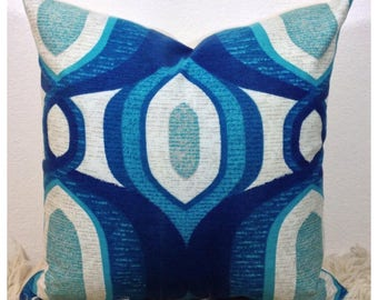 "Cushion Cover Vintage 60s 70s Retro Fabric 16"" x 16"" Blue Retro Throw Pillow Cover"