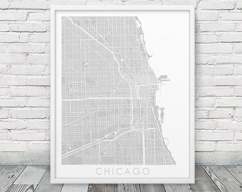 Chicago Urban Map Print. Chicago City Street Map Poster. Grey Chicago Illinois Map Print. Modern Poster Art Home Office Decor. Printable Art