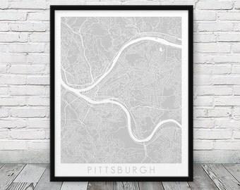 Pittsburgh City Street Map Poster. Pittsburgh Urban Map Print. Grey Pittsburgh Pennsylvania Map Print. Minimalist Wall Art. Printable Art