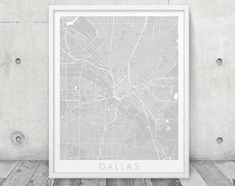 Dallas City Urban Map Print. Dallas Street Map Poster. Grey Dallas Texas Map Print. Minimalist Map Travel Gift Home Decor. Printable Art