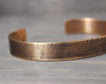 Men's Bronze Cuff, 3/8 Inch Cuff, Men's Distressed Cuff, Distressed Bronze Cuff, Cuff For Guy, Gift For Him, Gift For Dad, Hand Stamped Cuff