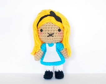 Alice - from Alice in Wonderland - Roseberry Town Collection - Inspired Amigurumi Plush Doll by Roseberry Arts