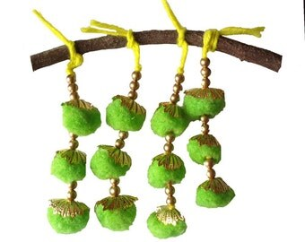 Neon Green Camel Decoration Boho Tassel 1 Pair - Lime Green and Gold Bohemian Tassel / Embellishment / Decoration / Women Dress Tassels