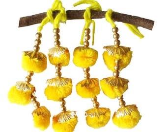 Sunny Yellow and Gold Camel Decoration - Boho Tassel 1 Pair / Embellishment / Decoration / Women Dress Tassels