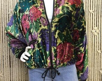 Totally adorable 90's velvet floral bomber jacket