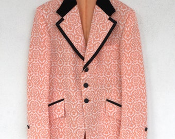 Suave classic 1960's Prince Edward Formal Wear brocade-like printed polyester salmon tuxedo jacket with velvet collar