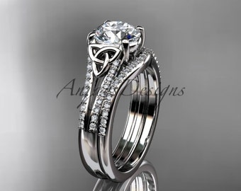 "platinum celtic trinity knot engagement ring ,diamond wedding ring, engagment set with a ""Forever One"" Moissanite center stone CT7108S"