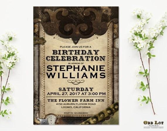 Steampunk invitation steampunk birthday invitation printable party il570xn stopboris Images