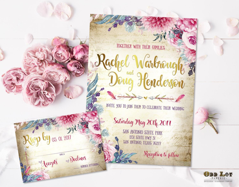 Boho Chic Wedding Invitations: Boho Chic Wedding Invitation Printable Suite Bohemian Wedding