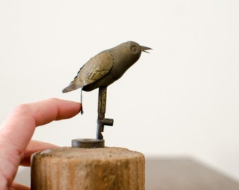 Vintage Small Metal Bird on Stump Figurine