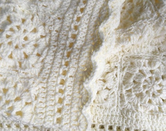 Ecru Baby Blanket- Antique White- Granny Square Crochet- Ready To Ship- Hand Crocheted Afghan- 33x36- 56 Granny Squares