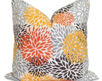ORANGE GRAY PILLOWS.16x16 inch.Decorative Pillow Cover.Housewares.Home Decor.Home Accent.Blooms.Mums.Orange.Gray.Grey.Yellow.Flowers.Cushion