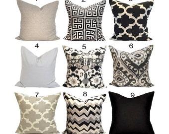 Black Pillows, Black Pillow Covers, Black Decorative Pillows, Black Tan Pillows, Black Cushion Covers.Black Pillow Sham.Black Euro Pillow.cm