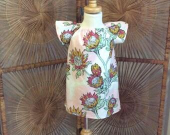 FLUTTER SLEEVED PHOEBE...Aline dress  with coordinated flutter sleeves in Joel Drewberry Floral Stock