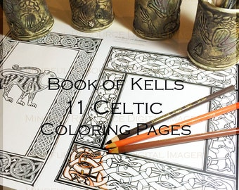 Coloring border etsy for Book of kells coloring pages
