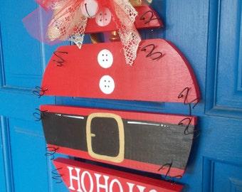 Santa Sign, Holiday Door Hanger, HO HO HO, Wood Door Wreath, Santa Wood Ornament, Christmas Door Hanger, Holiday Sign, Holiday Door Sign