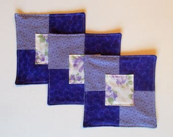 "Purple Mug Mat, Mug Rug, Drink Coaster, Fabric Coaster, Snack Mat, Quited Coaster, Handmade Mini Quilt, Candle Mat, 6 1/2""  x 6 1/2"", #205"