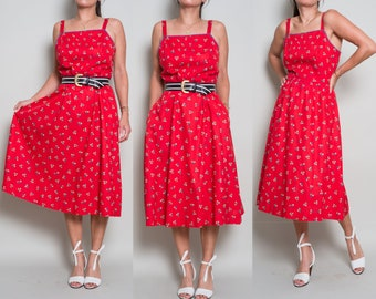 1970s//  LANZ// Red Cotton Ditsy Floral// Midi Day Dress// M