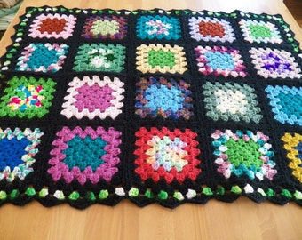 Cheery Unused Vintage 1960's Granny Squares Afghan with Vibrant Colors