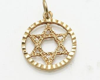 Vintage 14k yellow gold Jewish Star of David Pendant Encircled Estate
