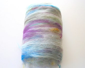 INTRIGUE - One of a Kind Art Batt to Spin or Felt Made of BFL, Kid Mohair Locks, Bamboo, Merino, Sari Silk, Alpaca, and Angelina