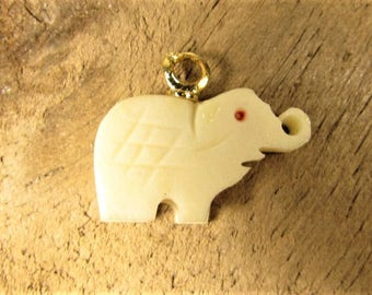 Carved Elephant Charm -  Vintage Up Trunk Good Luck Fob