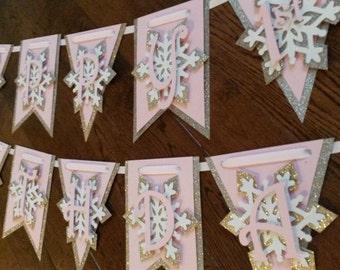 Winter Wonderland  Happy Birthday Banner Snowflakes, Pink, Gold, White, Champagne Gold