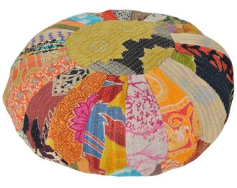 Vintage Kantha Patchwork Pouffe Cover Pouf Floor Cushion DV54