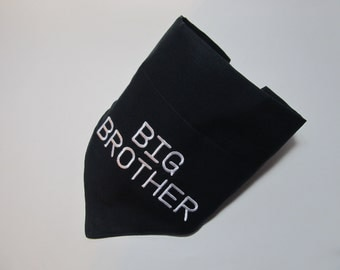Big Brother Dog Bandana - Over the Collar Style - Makes a Great Gift - Shown in Black with White Letters