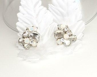 Rhinestone Bridal Earrings- Art Deco Bridal Studs- Bridal Cluster Earrings- Rhinestone Studs- Wedding Earrings- Vintage Inspired Studs