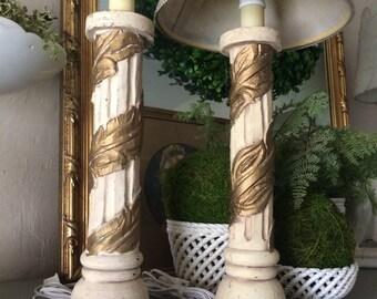 Vintage Pair Wood Column Ivory and Gilt Lamp Pair
