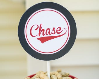 Personalized Baseball Party Circles (6 and 8 inch circles, Baseball Birthday, Baseball Party, Baseball Sign, Navy, Red, Personalized Decor)