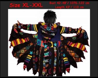 elf coat, sweater coat, rainbow coat, swirls, pixie coat, elf sweater, dream coat, size XL, size XXL