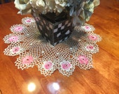 Vintage 20 inch round Pink and White hand crochet doily for crafts, shabby chic, housewares, linen, trim, valentines, by MarlenesAttic